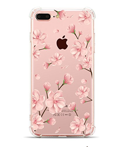 Hepix iPhone 8 Plus Case, iPhone 7 Plus Protective Back Cover, Pink Flowers Printing Floral Pattern TPU Bumper Case [5.5 inch] (Pink Flowers Cover)