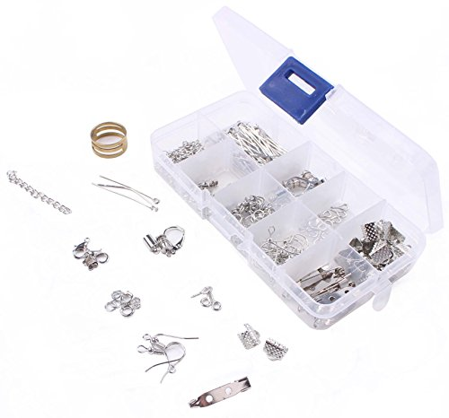 BIHRTC 15 Style 292 Pieces Jewelry Findings Starter DIY Kit Accessories with One Piece Jump Ring Open Tool in a Clear Box