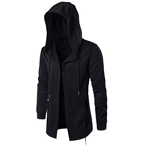 Cloak Style Long Sleeve - Katesid Men's Hip Hop Sweatshirt Hooded Cardigan Plus Long Sleeve Cape Cloak Coat