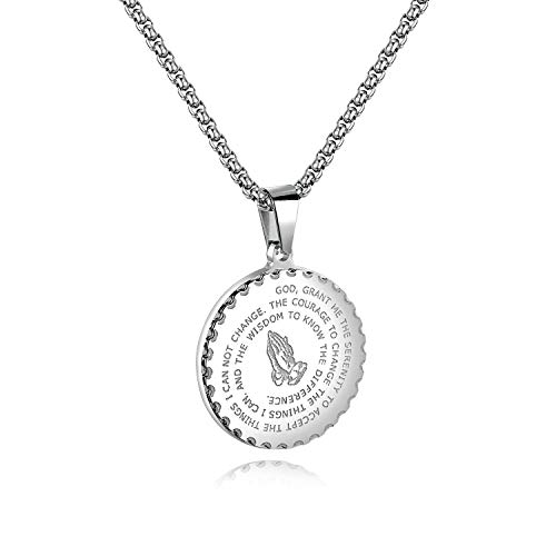 TEMICO Bible Verse Prayer Necklace Christian Jewelry Stainless Steel Praying Hands Coin Medal Pendant Necklace