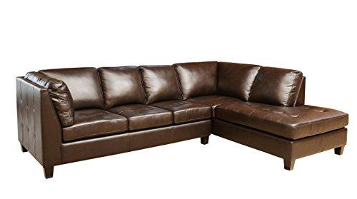 Abbyson Living Cambridge Top Grain Leather Sectional, Dark (Leather Sectional Top Grain)