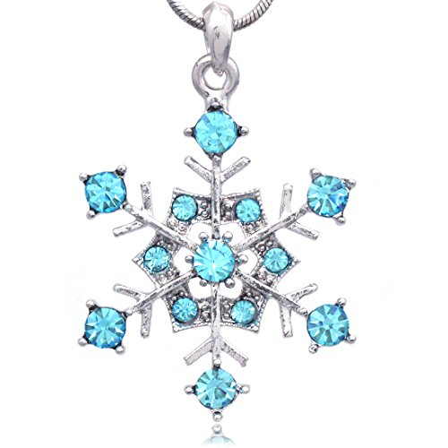Soulbreezecollection Snowflake Charm Pendant Necklace Wedding Bridesmaid Prom (Aqua Blue)