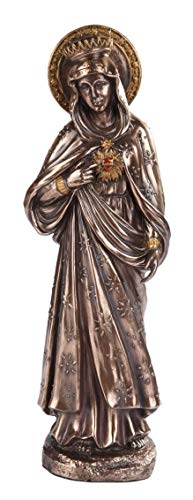 Figurine Immaculate Heart of Mary Virgin Statue Religious Bronze Color