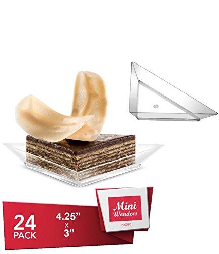 MINI WONDER SMALL TRIANGLE DESSERT PLATES - Petite Plates - Tiny Clear Plastic Tray - Party Disposable Tasting Appetizer Dish - Miniature Food Sample Bowl - Single Serving Dish Set 24 Pk. (Plastic Plates Triangle)
