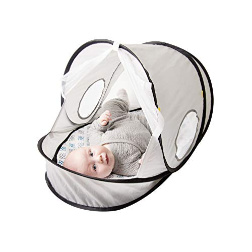 Baby Delight Comfy Canopy Breathe | Grey | Indoor and Outdoor Portable Canopy Mat | Made with 50 SPF Coated Material | Compact & Easy Set Up