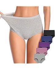 Envlon Women's High Waist Cotton Underwear Tummy Control Briefs Panties for Women (2-5 Pack)