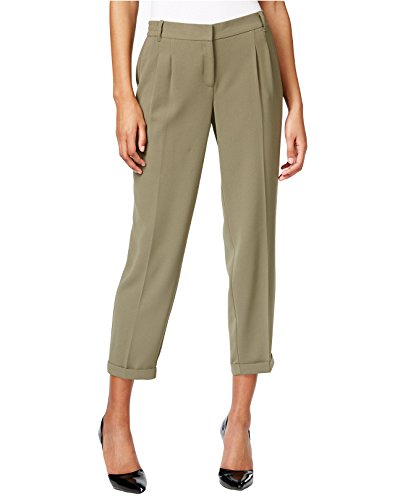 Bar III Women's Cropped Cuffed Soft Woven Pants (Large, Dusty Olive) (Woman Cropped Cuffed Pant)