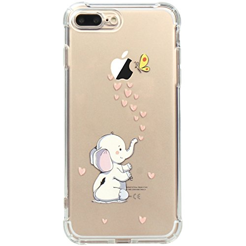 JAHOLAN iPhone 7 Plus Case, iPhone 8 Plus Case Amusing Whimsical Design Clear TPU Soft Case Rubber Silicone Skin Cover for iPhone 7 Plus iPhone 8 Plus - Cute Elephant