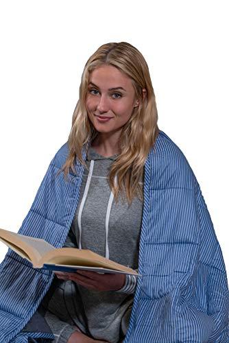 Jones & Wakefield Premium Weighted Blanket - Reversible: 2 Blankets in 1! (Blue) 15lbs 48