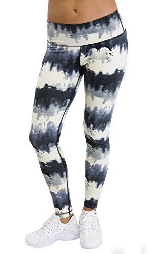 90 Degree By Reflex - Performance Activewear - Printed Yoga Leggings - Print 214 Ink Black Ivory L