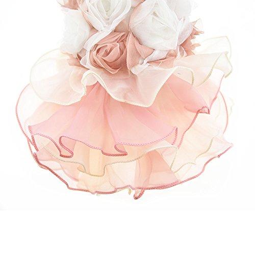 3D Chiffon Rose Dog Dress For Cat Pet Dog Skirt Dog Wedding Dress Outfits Apparel Summer Small Dog Shirt Clothes (L(Back12.9'' Bust18.8), Pink) by DIAN DIAN Pet (Image #4)