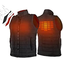 ATATAKAI USB Charging Electric Heated Body Warmer Down Vest, Washable Size Adjustable Heated Clothing for Outdoor Hike, Hunt, Motorcycle, Golf(Black)