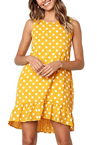 Mystry Zone Women Summer Beach Dress Pencil Tunic Dress Casual Round Neck Yellow X-Large