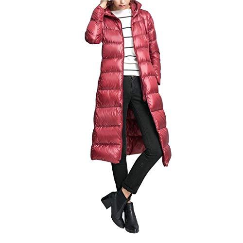 Cómodo Invierno Parkas Manga Mujer Caliente Laterales con Color Cremallera Prendas Largos Exteriores Sólido Pluma Especial Bolsillos Estilo Winered Larga AAqxr5wZ