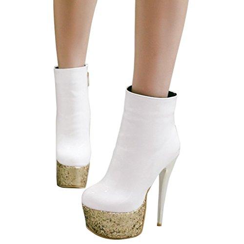 ENMAYER mujeres de cuero de charol Super High Heels Round Toe Plataforma Stiletto tobillo botas Blanco