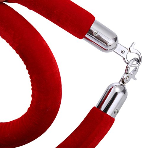 JAXPETY Red Velvet Barrier Rope with Sliver Color Plated Hooks Crowd Control Stanchion New by JAXPETY (Image #7)