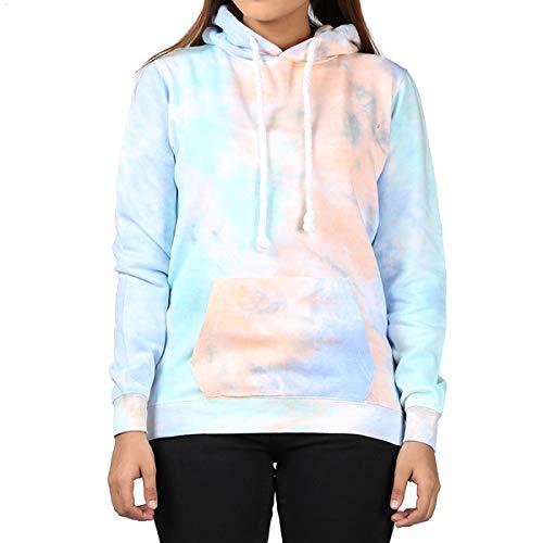 Kara Hub Tie Dye Hoodie Pastel Tie-Dye Hoodies Long Sleeve Pullover Hooded Sweatshirt (Medium, Pastel Ocean Thick Drawcord)