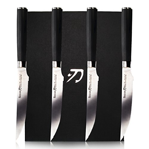 Micro Serrated Steak Knife - Sedge SM Series Micro-serrated Steak Knife Sets 4 PCS 5 inch - Japanese AUS-8 Stainless Steel Kitchen Knife with G10 Ergonomics Handle