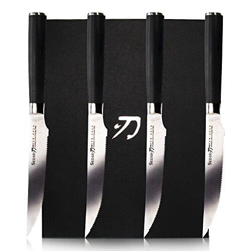 Sedge SM Series Micro-serrated Steak Knife Sets 4 PCS 5 inch - Japanese AUS-8 Stainless Steel Kitchen Knife with G10 Ergonomics (Japanese Steak)