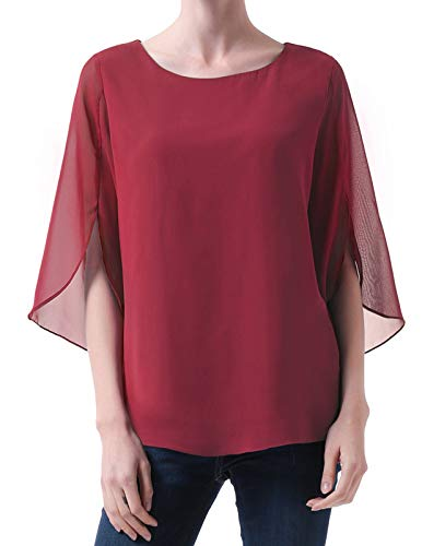 Casual Split Half Sleeve Scoop Neck Chiffon T Shirt for Women Cocktail Party Wine Red Size S