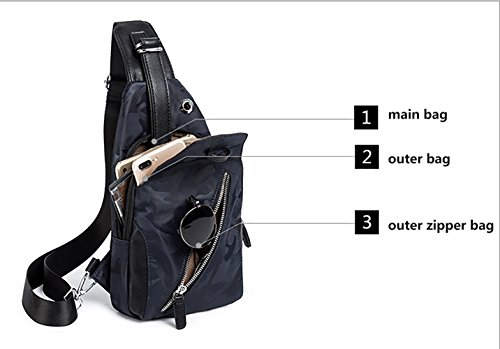 Fashion Korean Chest Nylon Men's Bag Crossbody Trend Pu Brown New Leather color qBYgCYw