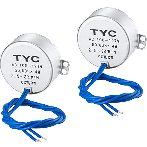 SATINIOR Electric Synchron Motor Turntable Synchronous Motor 100-127 VAC 50/60 Hz 4W MIN CCW/CW Direction for Hand-Made, School Project, Model or Guide Motor (2.5-3RPM, 2 Packs)