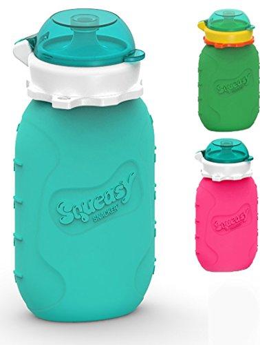 Squeasy Snacker - Aqua- Wiederverwendbares Quetschie aus Silikon, Quetschbeutel zum selbst befüllen, BPA, PVC und Phthalat-frei