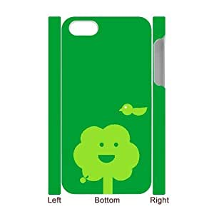 3D IPhone 4/4s Case, Protection Green Painted Face Case for IPhone 4/4s {White}
