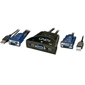 Lindy 32816 Negro interruptor KVM - Periférico de entrada (USB, USB, VGA, 1,2 m, 1920 x 1200 Pixeles, Negro)