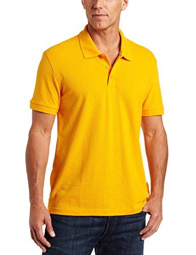 (Classroom Unisex Short Sleeve Pique knit Polo, Gold, Medium)