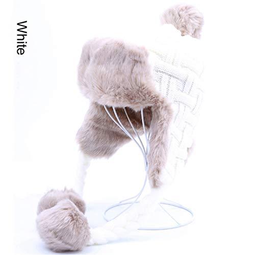 LKIUYN Women Trapper Hats Winter Warm Faux Fox Fur Hat Russian Wool Knit Earflaps Aviator Caps White One ()