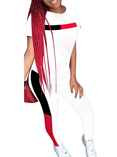Women's 2 Piece Tracksuit Short Sleeve Stripes Tracksuit Cowl Neck Pullover Shirt Bodycon Pants Outfits Set Plus Size WH M White ()