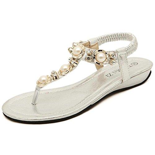 Punta APTRO Stoffa Bianco Sandali della Donna Flash Clip Strass Perline tw1ZBw6q