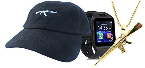 Gift Set AK 47 Gun Dad Hat + 14k Gold PVD Plated Pendant + Smart Watch Black Emoji Twill Cotton Low Profile Dad Cap