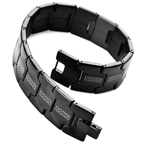 INBLUE Mens Stainless Steel Bracelet Link Black Greek