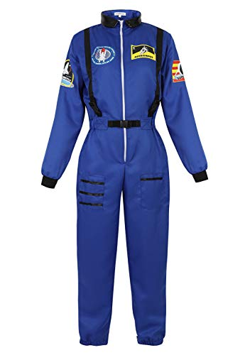 Haorugut Women's Astronaut Adult Space Costume Plus Size Flight Suit Astronaut Jumpsuit Fancy Dress Up Costumes Blue 2XL