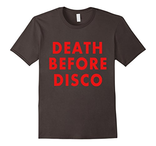 Mens Death Before Disco Retro Funny Shirt XL Asphalt