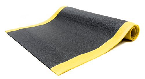 Bertech Anti Fatigue Vinyl Foam Floor Mat, 3' Wide x 5' Long x 3/8'' Thick, Textured Pattern, Black w/Yellow Border (Made in USA) by Bertech (Image #1)