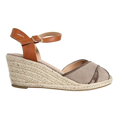 Zapatos de cuña de Mujer MTNG 51847 TEKA TAUPE