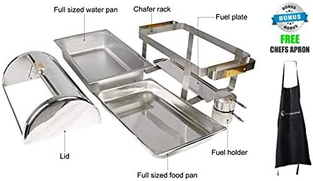 Roll Top Stainless Steel Chafing Dishes by ChefMaid (8qt Deluxe Chafing Dish Gold Accent)