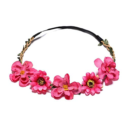 Flower Headband Wreath Vine Women Stylish Flower Turban for Beautiful Girls Hair Accessories diademas para mujer,E