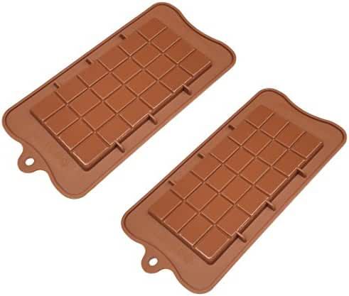 TYH Supplies Set of 2 Food Grade Non Stick Premium Silicone Break Apart Chocolate, Candy, Ice Cube, Baking, Protein and Energy Bar Molds Also for Soap Bars Mold Candybar Form