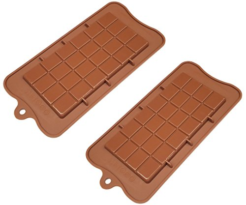 TYH Supplies 2 Pack Food Grade Non Stick Silicone Break Apart Chocolate Bar Mold -
