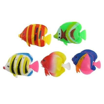 eDealMax DE 5 piezas de plástico acuario Giro de voladizo Tropical Adorno de peces, Multicolor