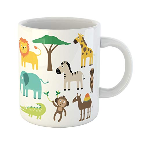 Semtomn Funny Coffee Mug Safari African Animals Acacia Africa Alligator Baby Camel Cartoon 11 Oz Ceramic Coffee Mugs Tea Cup Best Gift Or Souvenir]()