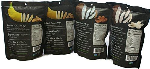 Variety Pack - Bare Fruit Chips - Toasted Coconut (3.3 oz), Chocolate Coconut (2.8 oz), Simply Banana (2.7 oz), Cinnamon Banana (2.7 oz) by General (Image #1)'