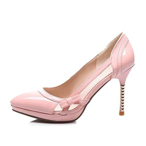 Rosa Chiusa Su Dei Rilevato Punta Amoonyfashion Estraibili Talloni calzature Pu Pompe Donne Solido 6qa4d7w