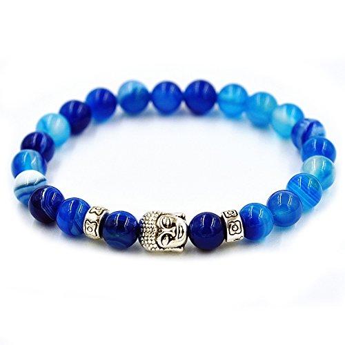 Blue Jade Pendant (Buddha Bracelets for Men & Women - Energy Stone Mala (Sky Blue - Silver Tone Buddha))