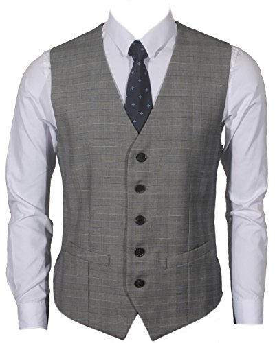 Ruth&Boaz Men's 2Pockets 5Button Business Suit Vest (XL, Glen Plaid Check Gray)