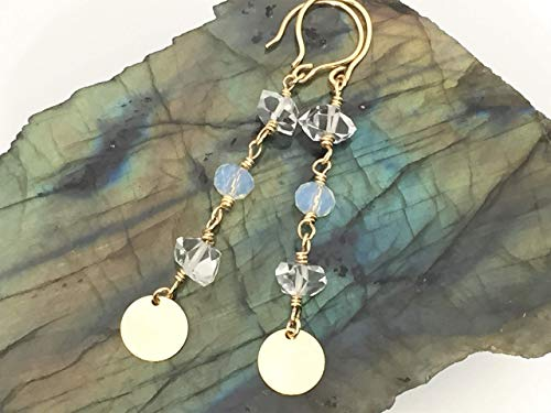 Herkimer Diamond Earrings Moonstone Dainty Disc 14k Gold Filled Wire Handmade Hooks (Earrings Moonstone Diamond)